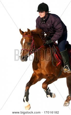 The girl the equestrian skips on a horse...