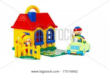 The house the machine, family - insurance. Toys on a white background
