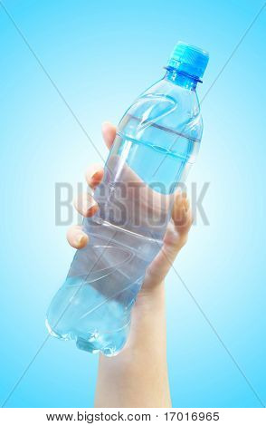 The hand holds a bottle with water