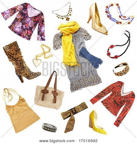 Lady's clothes and accessories on a white background