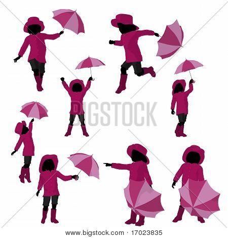 Rain Girl Silhouette Illustration