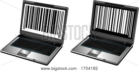Opened Laptop With Bar Codes