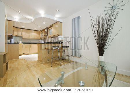 nice wooden finish modern contemporary open plan kitchen