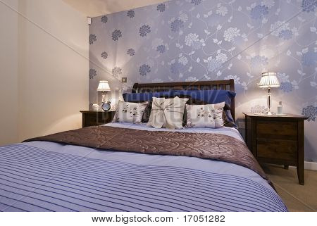 modern designer bedroom with amazing decoration and wallpaper