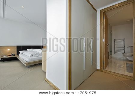 modern bedroom with a walk in wardrobe and en-suite bathroom