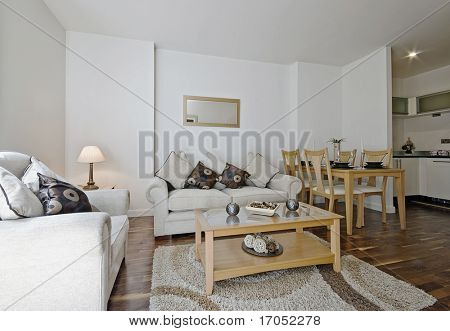 contemporary living room with decorative elements and dining table setup