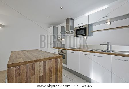 modern luxury kitchen with hard wood worktop