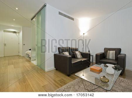 living area of a modern luxury studio apartment