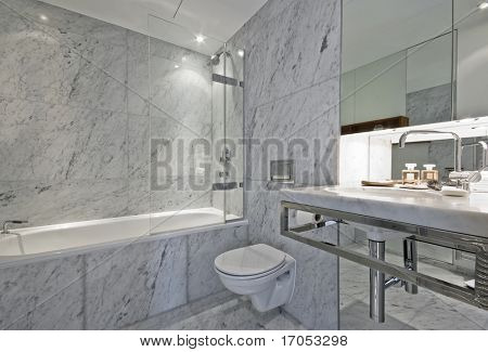 luxury en-suite bathroom in white marble finish