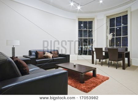 mint living room with large bay window