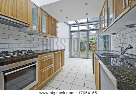 modern luxury kitchen unit with bright atrium