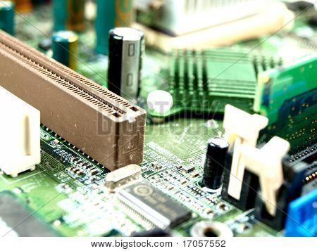 closeup of a computer board