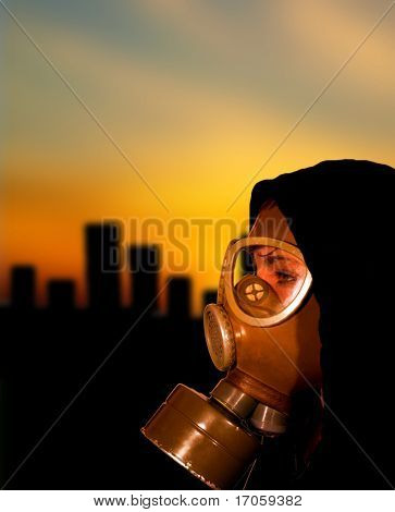Apocalypse scene with woman in gas mask