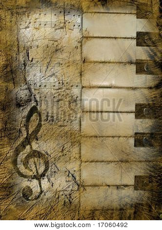 Background in retro style, with musical symbols