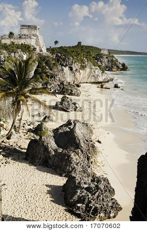 view of the mayan archaeological site of tulum