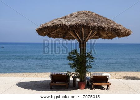 deck chair by the sea in a hotel resort in Kerala state india