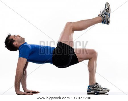 man doing workout on white isolated background