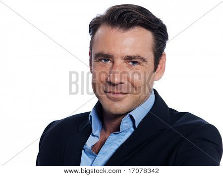 Handsome caucasian man businessman smiling portrait on white isolated background