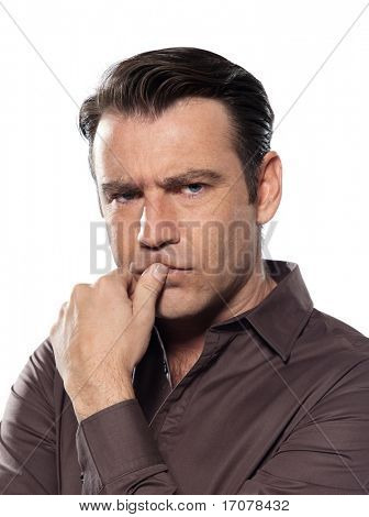 man portrait pucker worried serious studio isolated on white background