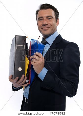 man businessman holding files confident arrogant isolated studio on white background