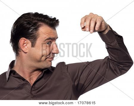 man perspiration stain isolated studio on white background