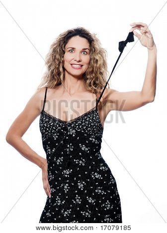 beautiful caucasian woman smiling portrait wearing summer dress with bow tieisolated studio on white background