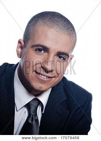 caucasian man businessman cheerful smile portrait isolated studio on white background