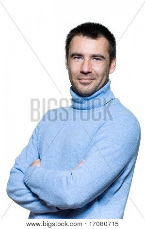 studio  portrait on isolated background of a stubble man similing cheerful