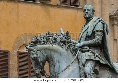 Equestrian Statue of Cosimo I by Giambologna, in Florence, Italy, Europe with a pigeon perched on top
