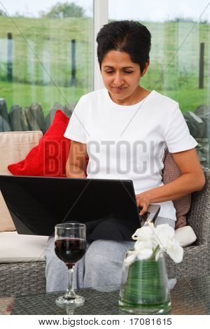Indian Woman Using Internet