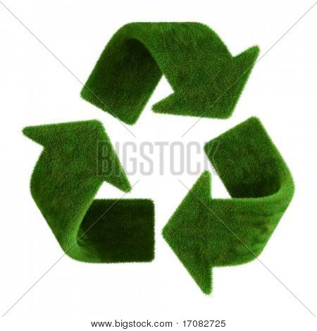 3d rendering of a grass recycle symbol