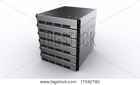 3d rendering of multiple rack servers on white background.