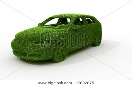 3d rendering of a green grass car