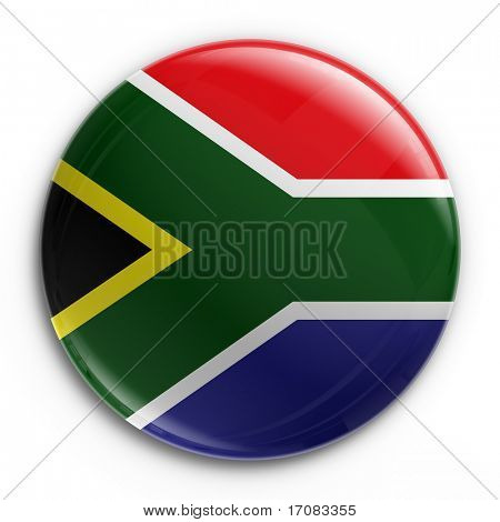 3d rendering of a badge with the South African flag
