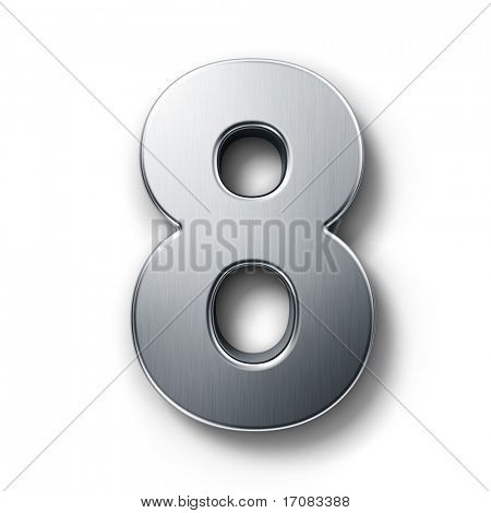3d rendering of the number 8 in brushed metal on a white isolated background.