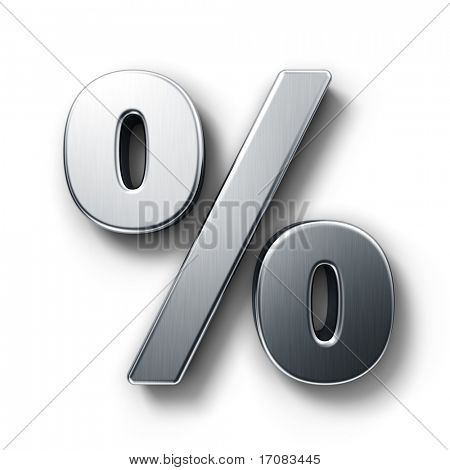 3d rendering of the percentage sign in brushed metal on a white isolated background.