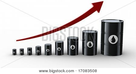 3d rendering showing the increasing prices of oil.