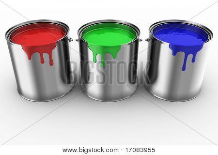 3d rendering of 3 paint cans