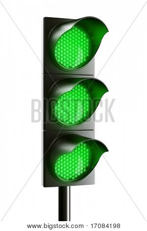 3d renderings of an all green traffic light