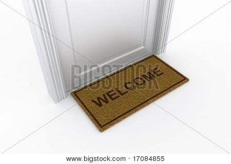 3d rendering of a door with welcome doormat
