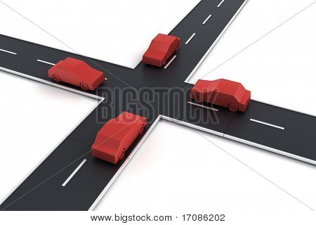 3d rendering of 4 cars at an intersection
