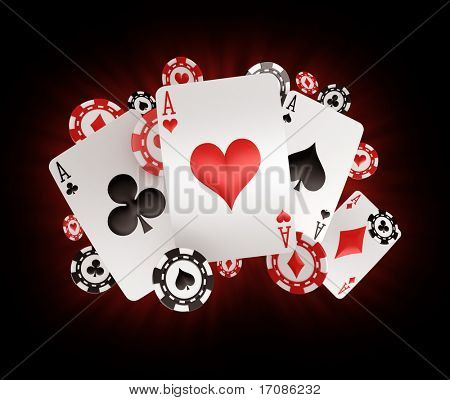 3d rendering of poker chips and cards with four aces
