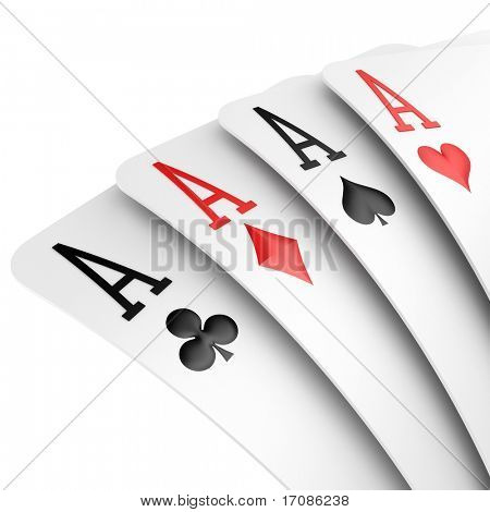 3d rendering of four aces