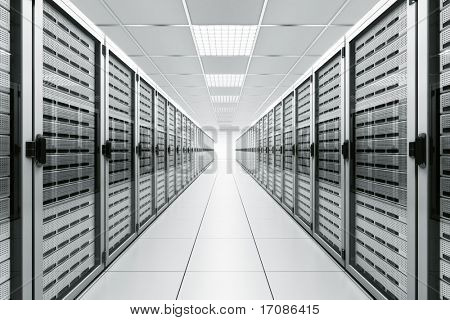 3d rendering of a server room with white servers
