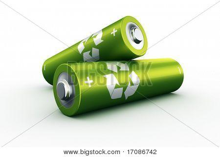 3D-Rendering von einem zwei grüne Batterien
