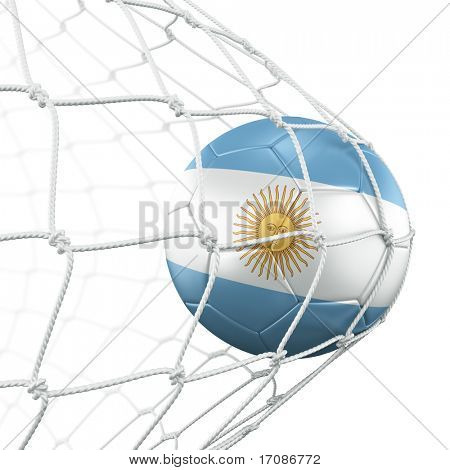 3d rendering of an Argentinian soccer ball in a net