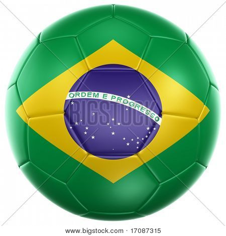 3d rendering of a Brazilian soccer ball isolated on a white background