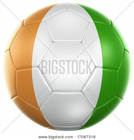 3d rendering of a Ivoran Coast soccer ball isolated on a white background
