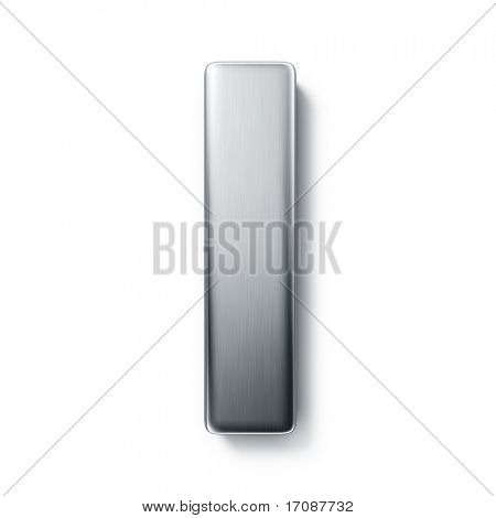 3d rendering of the letter I in brushed metal on a white isolated background.