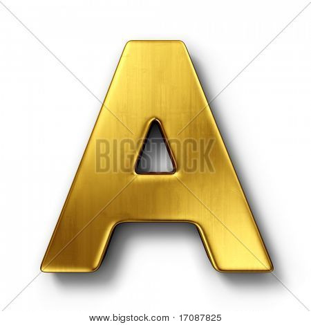 3d rendering of the letter A in gold metal on a white isolated background.